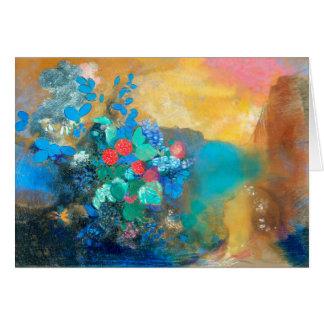 Cartão Ophelia entre as flores | Odilon Redon