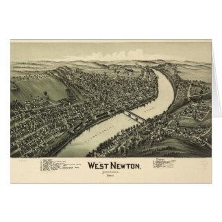 Cartão Opinião aérea Newton ocidental, Pensilvânia (1900)