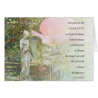 Cartão Oração da serenidade cor-de-rosa e estátua do