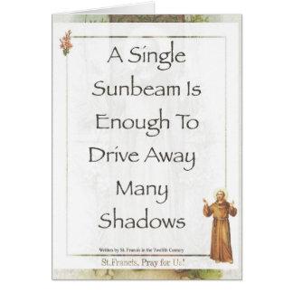Cartão ORAÇÃO do raio de sol de Francisco de Assis do