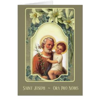 Cartão Oração floral de St Joseph Memorare do vintage