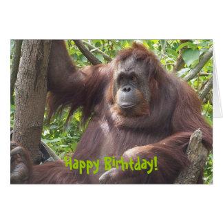 Cartão Orangotango Birhtday feliz!