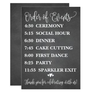 Cartão Ordem do giz de eventos que Wedding o sinal da