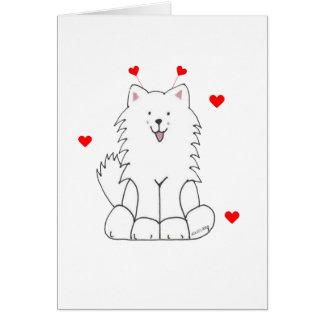 Cartão Orelhas dos namorados do Samoyed