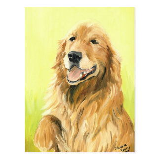 Cartão original da arte do cão do golden retriever