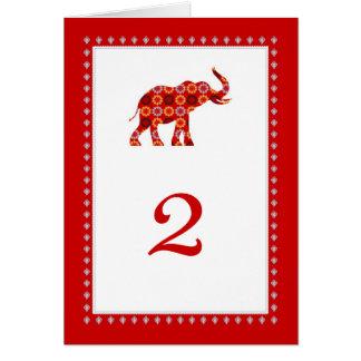 Cartão ornamentado da mesa dos elefantes