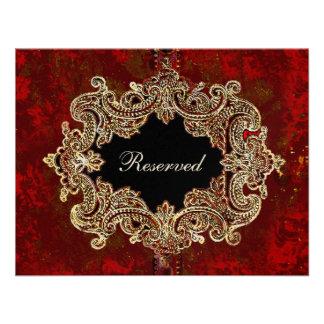 Cartão ornamentado do assento da mesa do partido convite