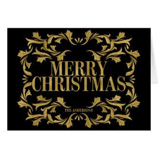 Cartão ornamentado elegante do Feliz Natal do ouro