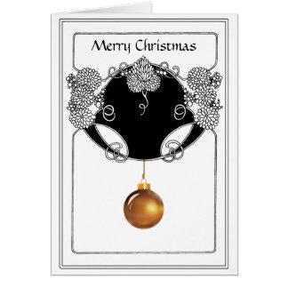 Cartão Ornamental do Natal de Nouveau no ouro e no preto