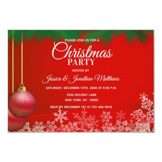 Cartão Ornamento brancos vermelhos dos flocos de neve da