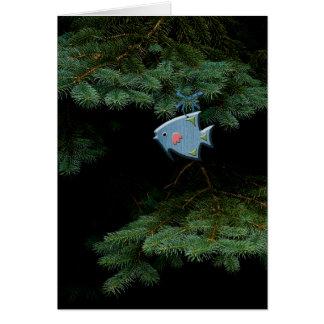 Cartão Ornamento de madeira da árvore de Natal do país