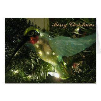 Cartão Ornamento do colibri do Feliz Natal