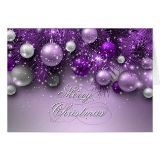 Cartão Ornamento do feriado do Natal - roxos