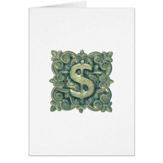 Cartão Ornamento do símbolo do dinheiro