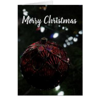 Cartão Ornamento do vermelho do Natal
