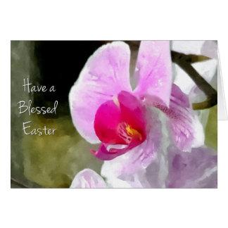 Cartão Orquídea abençoada da páscoa