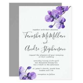 Cartão Orquídeas violetas da aguarela que Wedding o