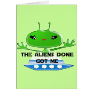 Cartão Os aliens feitos obtiveram-me