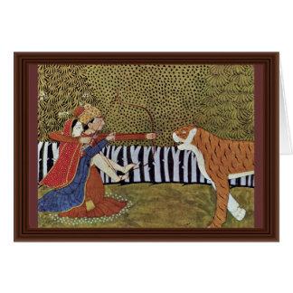Cartão Os amantes disparam em um tigre na selva.