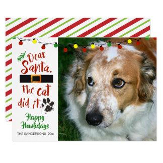 """Cartão Os amantes do cão, """"caro Papai noel, o gato"""