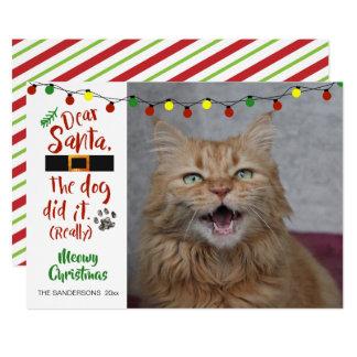 """Cartão Os amantes do gato, """"caro Papai noel, o cão"""