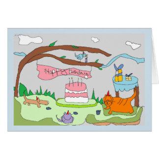 Cartão Os animais de partido de Drawlings dizem, feliz