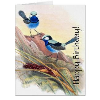 Cartão Os animais selvagens florais dos pássaros azuis da