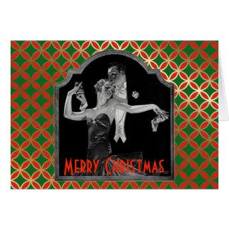 Cartão Os anos 30 que dançam o Natal vermelho e verde de