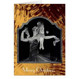 Cartão Os anos 30 que dançam o ouro de Deco boas festas