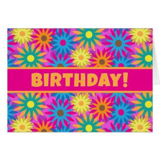 Cartão os anos 60 flower power têm um feliz aniversario