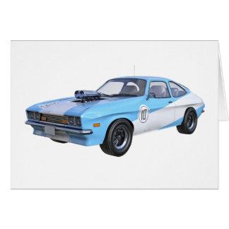 Cartão os anos 70 azuis e carro branco do músculo