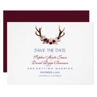 Cartão Os Antlers florais de Borgonha Marsala salvar a