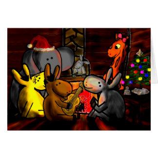 Cartão os asnos, girafa, elefante comemoram os feriados