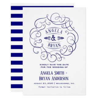 Cartão Os azuis marinhos ornamentado do vintage salvar a