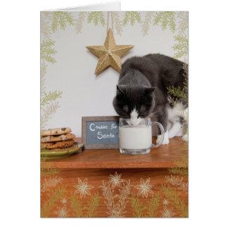 Cartão Os biscoitos do gatinho para o papai noel