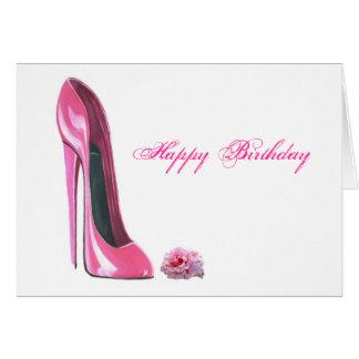 Cartão Os calçados cor-de-rosa do estilete e aumentaram