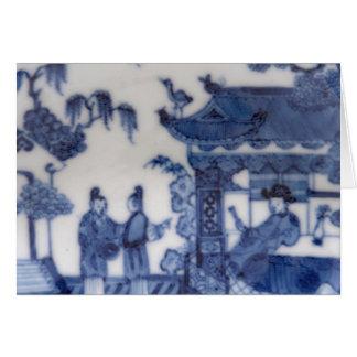 Cartão Os chineses exportam a cena azul & branca desde
