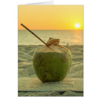 Cartão Os cocos no por do sol no golpe Tao encalham,