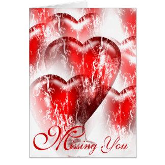 Cartão Os corações Água-Espirrados que faltam o cardam