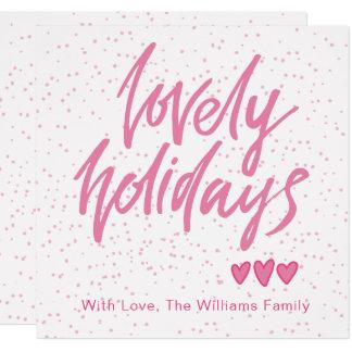 Cartão Os corações cor-de-rosa dos feriados bonitos