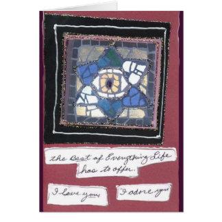Cartão Os corações do mosaico 6 Star a mão do olho de