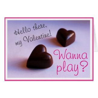 Cartão Os corações românticos do chocolate dos namorados
