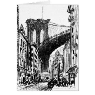 Cartão Os cortiços aproximam a ponte de Brooklyn 1909