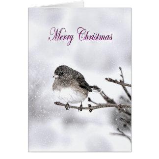 Cartão Os cumprimentos da estação - cena nevado - pardal