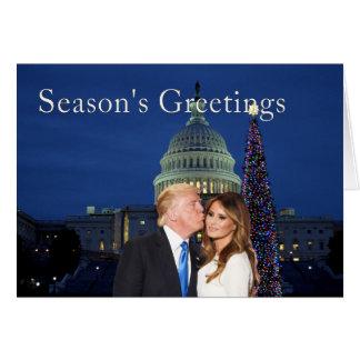 Cartão Os cumprimentos da estação de Donald e de Melania