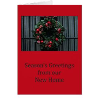 Cartão Os cumprimentos da estação de nossa casa nova