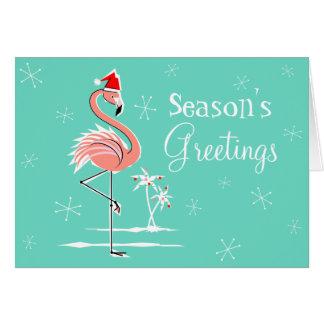 Cartão Os cumprimentos da estação do flamingo do Natal