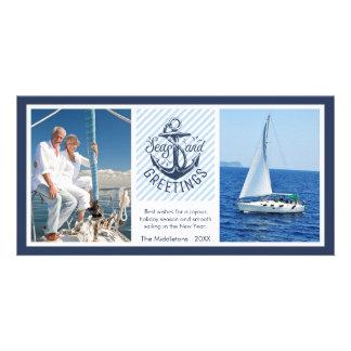 Cartão Os cumprimentos da estação náutica - marinho &