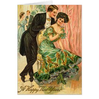Cartão Os cumprimentos de ano novo do vintage