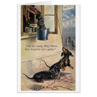 Cartão Os Dachshunds roubam a salsicha,